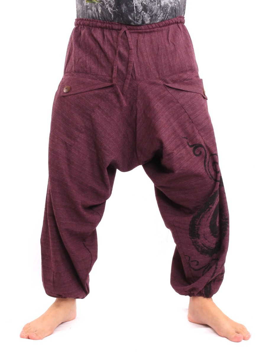 Harem Saruel Pants With Spiral Print  One Size Purple