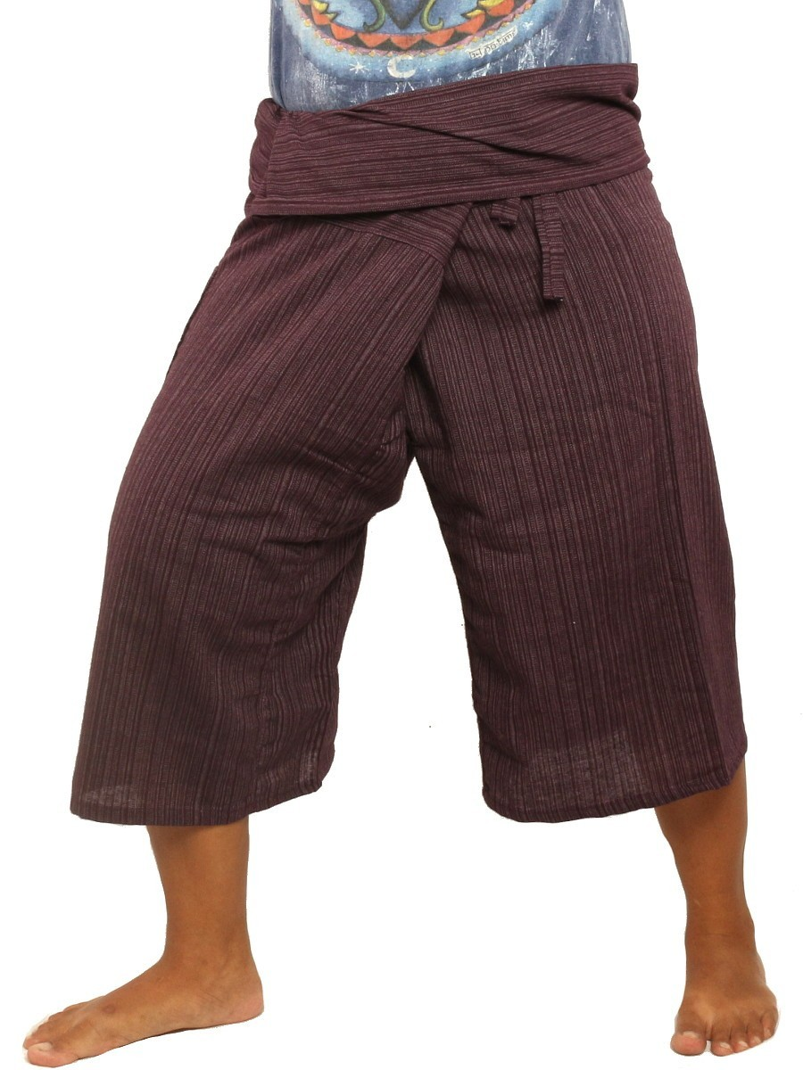 Thai Fisherman Shorts Single Color -Mix Unisex for Men and Women with One Side Pocket Dark Magenta