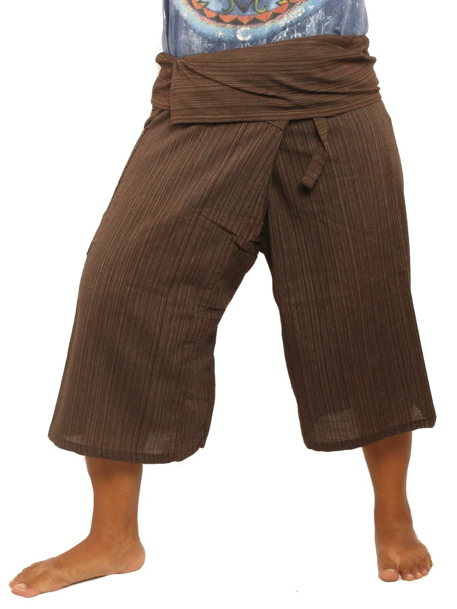 Thai Fisherman Shorts Single Color -Mix Unisex for Men and Women with One Side Pocket Brown