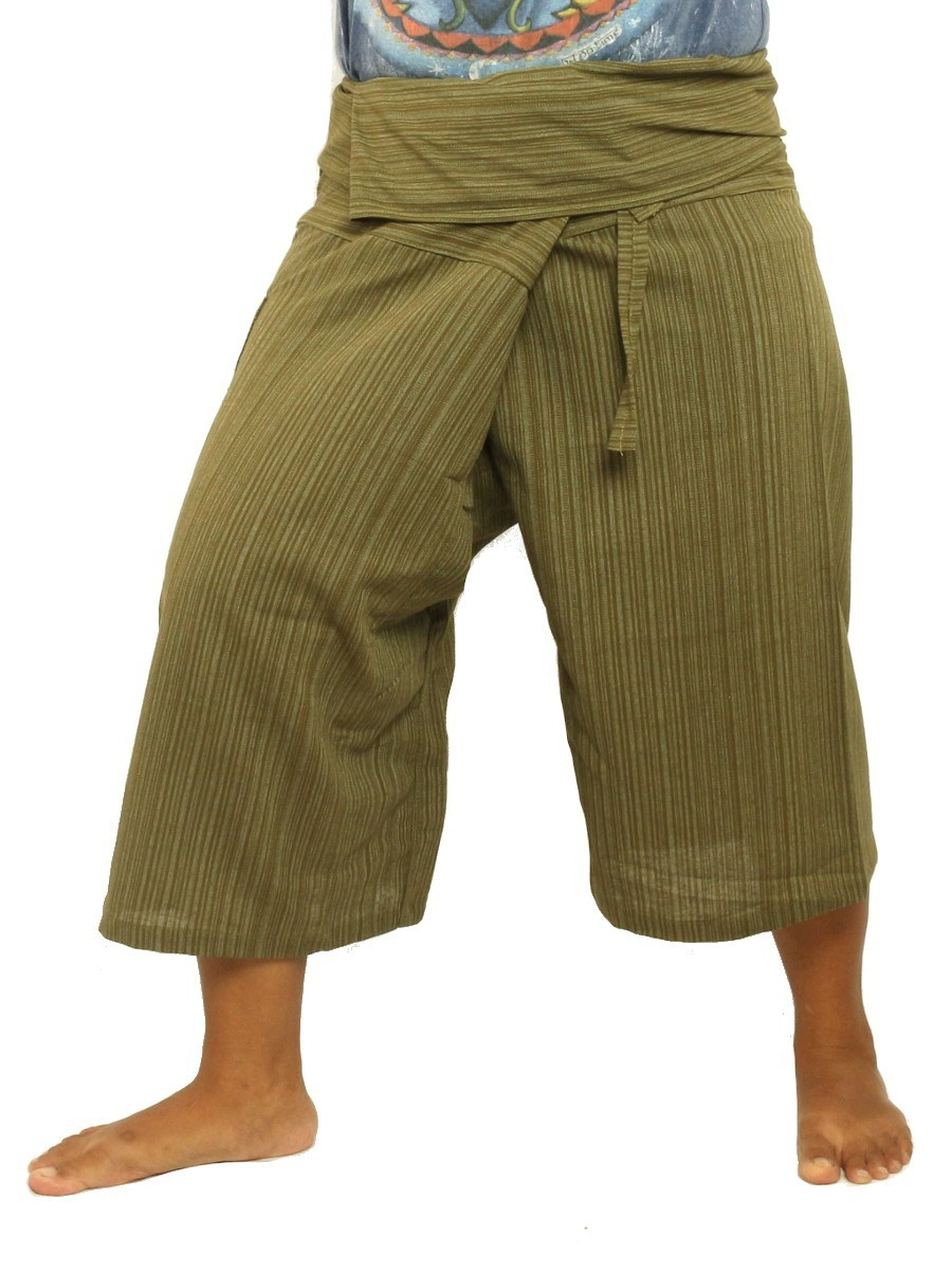 Thai Fisherman Shorts Single Color -Mix Unisex for Men and Women with One Side Pocket Green