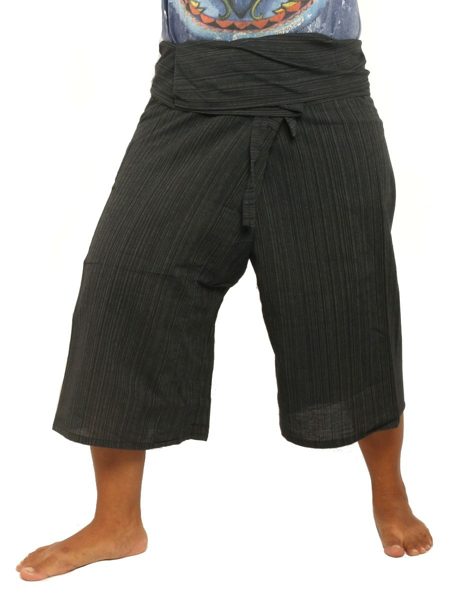 Thai Fisherman Shorts Single Color -Mix Unisex for Men and Women with One Side Pocket Black
