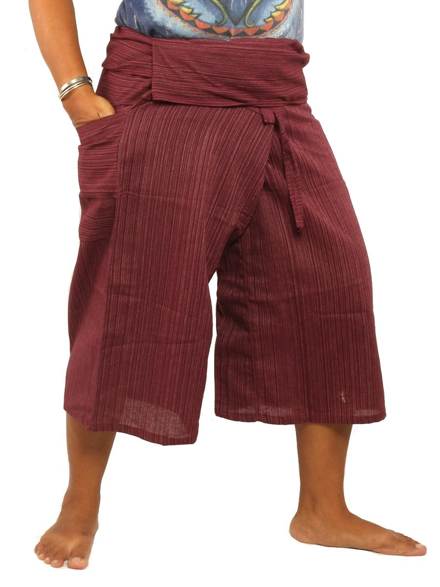 Thai Fisherman Shorts Single Color -Mix Unisex for Men and Women with One Side Pocket Dark Red