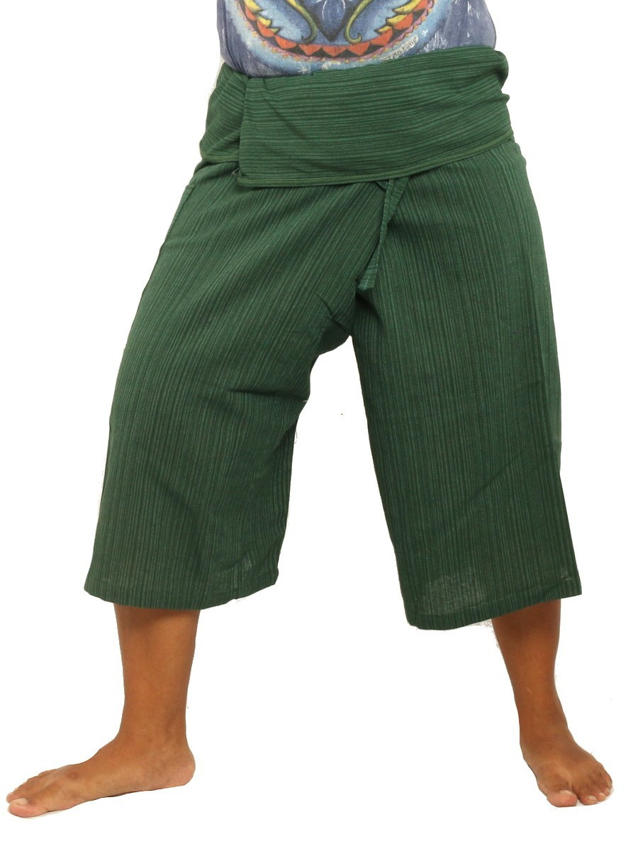 Thai Fisherman Shorts Single Color -Mix Unisex for Men and Women with One Side Pocket Olive Green