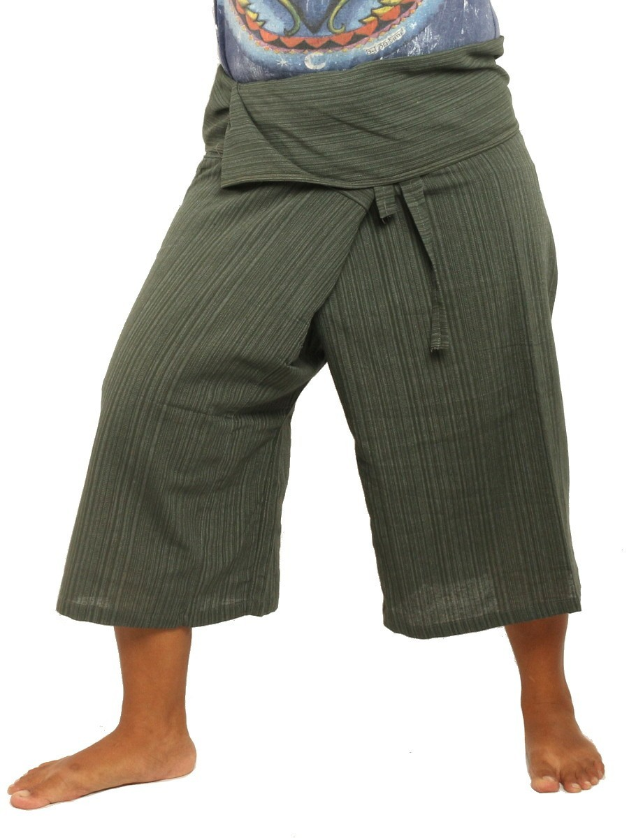 Thai Fisherman Shorts Single Color -Mix Unisex for Men and Women with One Side Pocket Grey