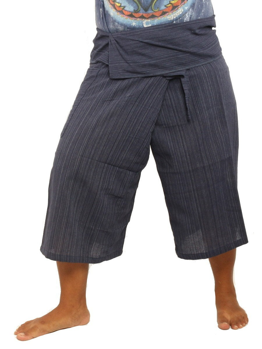 Thai Fisherman Shorts Single Color -Mix Unisex for Men and Women with One Side Pocket Dark Blue