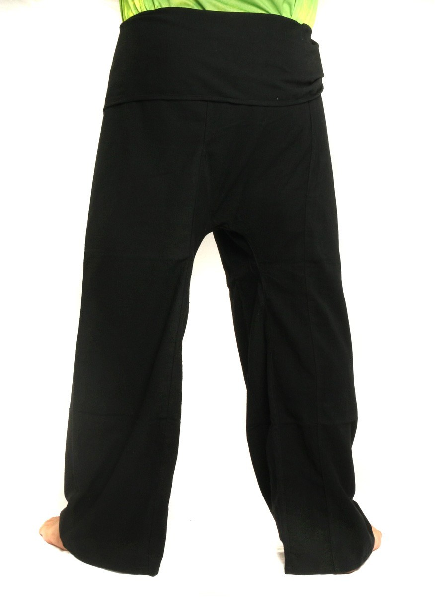 Thai Fisherman Pants Extra Long High Quality Cotton Solid Color With One Side Pocket Black