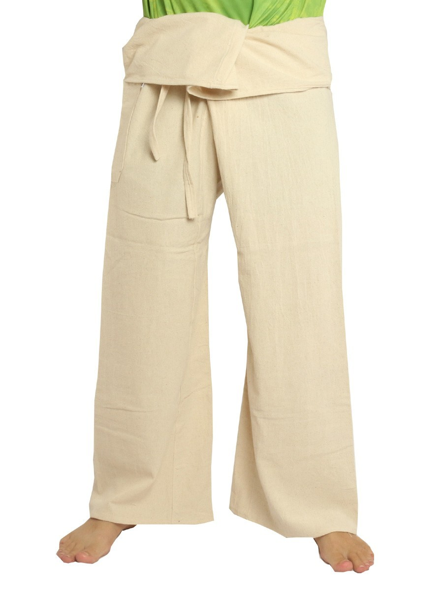 Thai Fisherman Pants Extra Long High Quality Cotton Solid Color With One Side Pocket Undeyd
