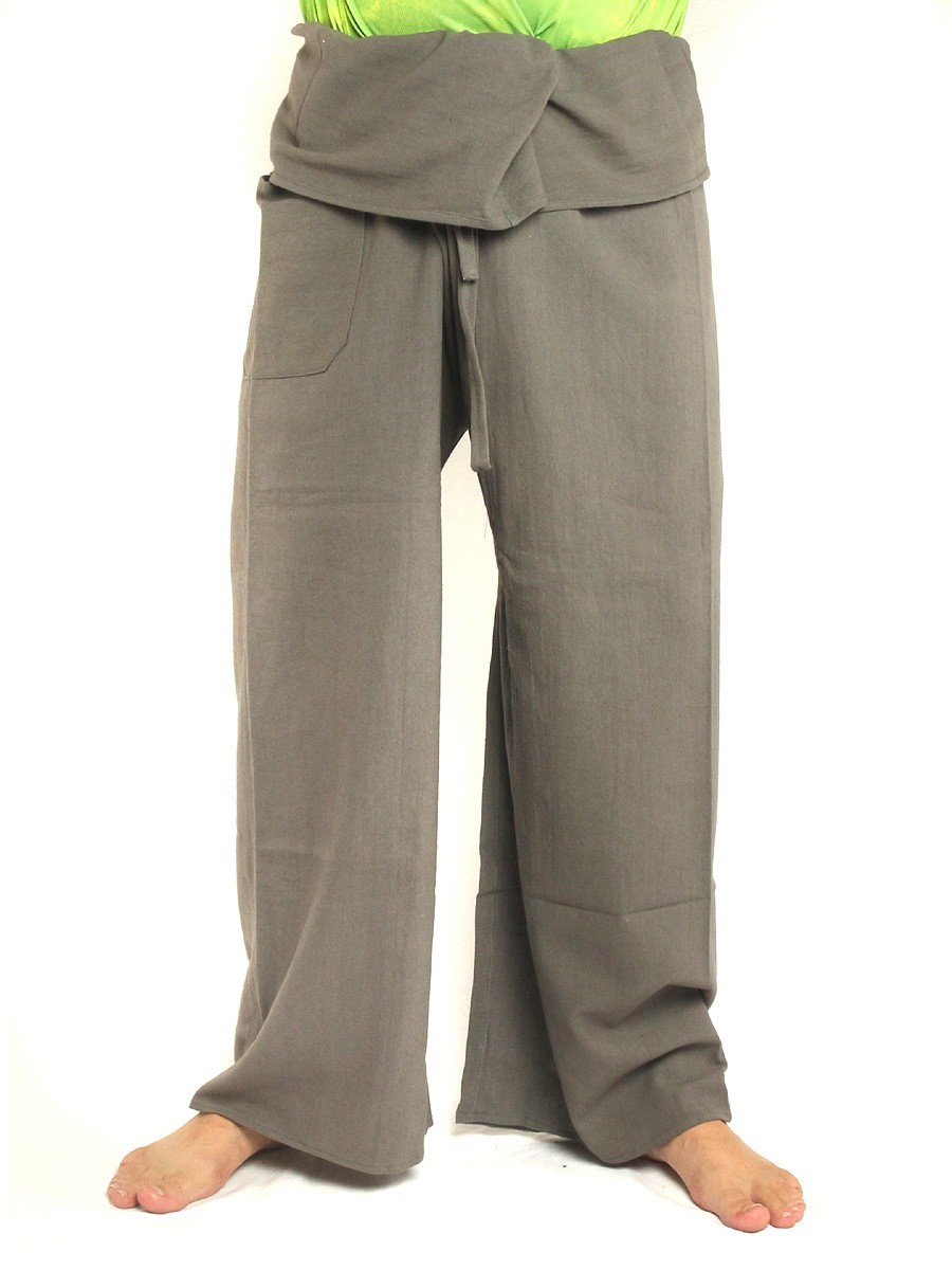 Thai Fisherman Pants Extra Long High Quality Cotton Solid Color With One Side Pocket Grey