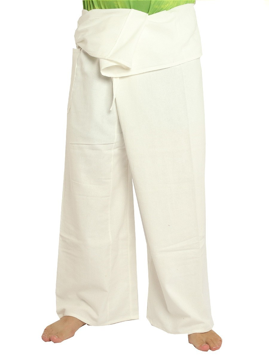 Thai Fisherman Pants Extra Long High Quality Cotton Solid Color With One Side Pocket White