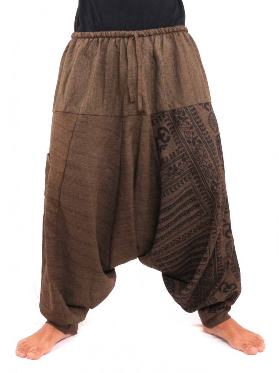 Baggy Aladdin Harem Pants With Sanskrit Symbols Print One Size Brown