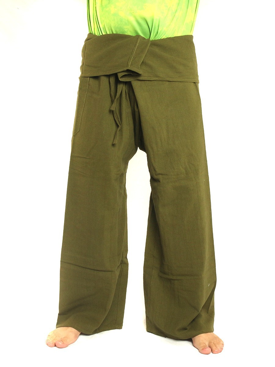 Thai Fisherman Pants Extra Long High Quality Cotton Solid Color With One Side Pocket Olive Green