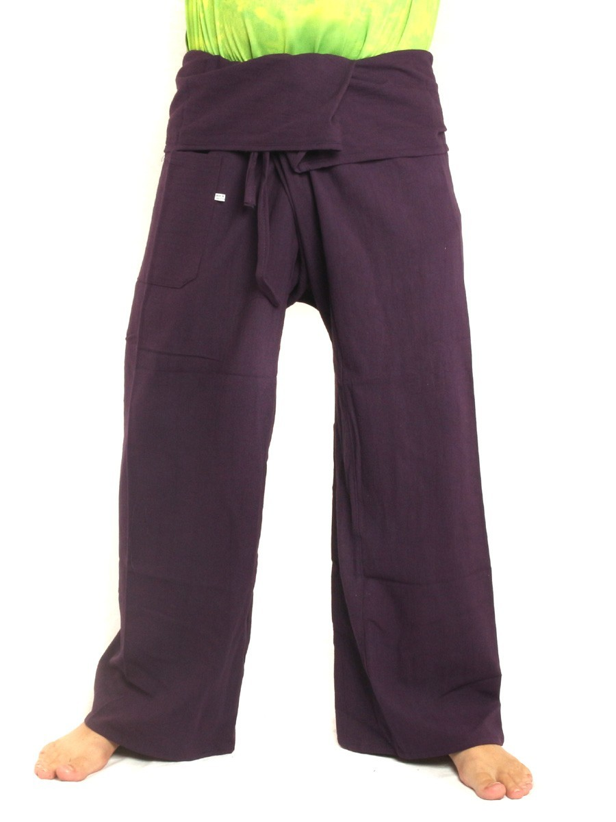 Thai Fisherman Pants Extra Long High Quality Cotton Solid Color With One Side Pocket Purple