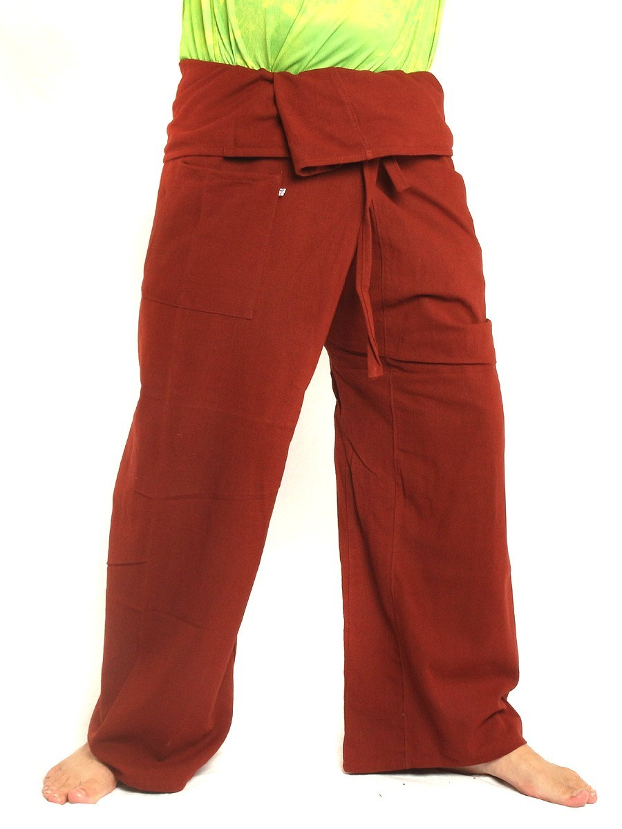 Thai Fisherman Pants Extra Long High Quality Cotton Solid Color With One Side Pocket Red