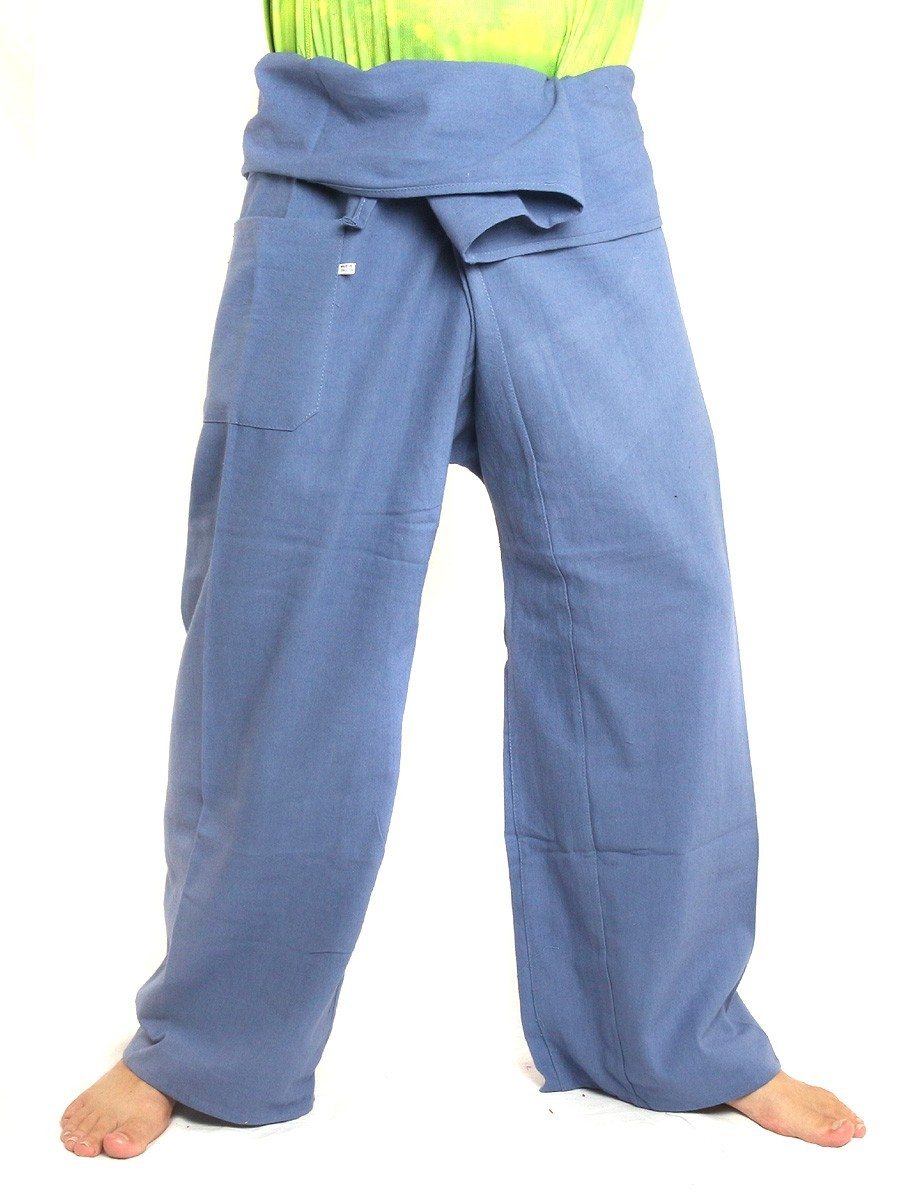 Thai Fisherman Pants Extra Long High Quality Cotton Solid Color With One Side Pocket Blue