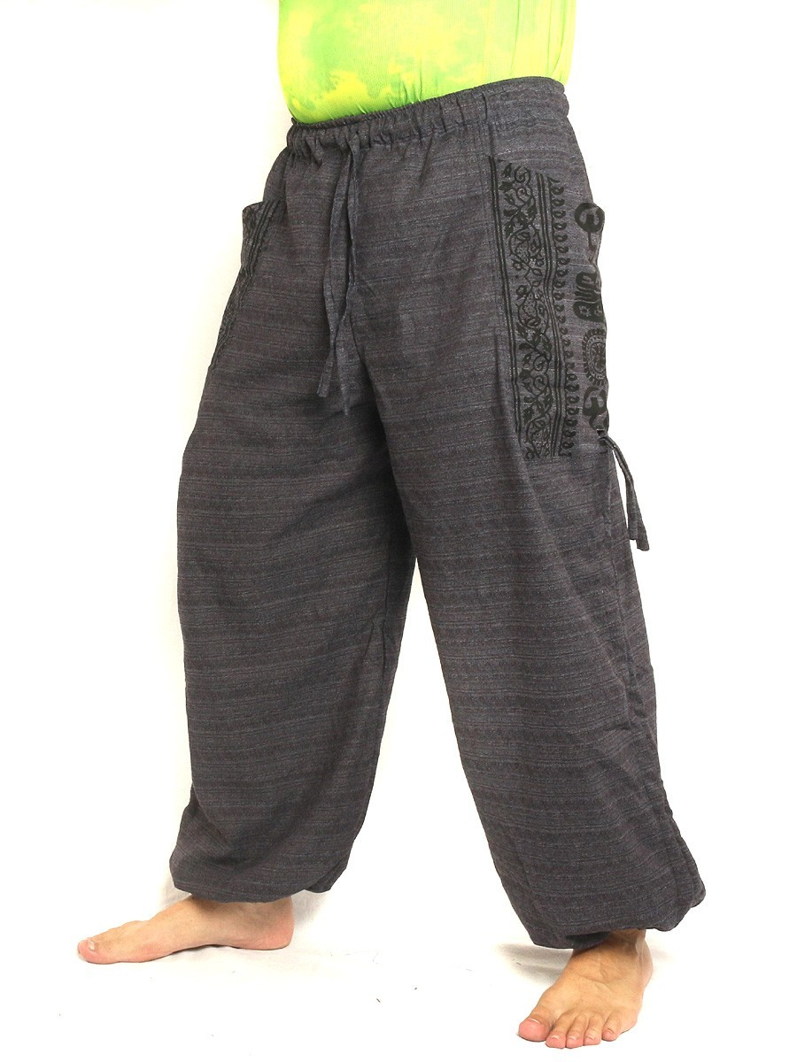 High Cut Harem Pants Boho Hippie Ethnic Floral Print Cotton Mix With Large Side Pockets Anthracite