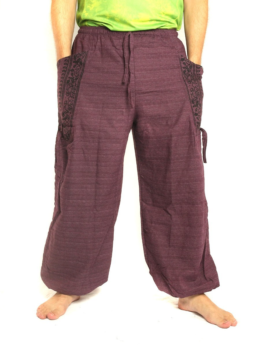 High Cut Harem Pants Boho Hippie Ethnic Floral Pattern Print Cotton Mix With Large Side Pockets Purple