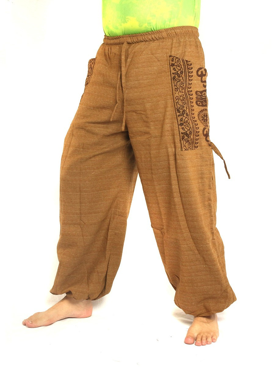 High Cut Harem Pants Boho Hippie Ethnic Floral Pattern Print Cotton Mix With Large Side Pockets Beige