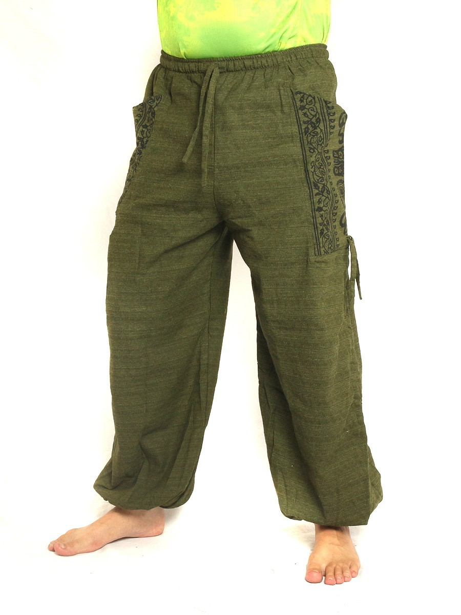 High Cut Harem Pants Boho Hippie Ethnic Floral Pattern Print Cotton Mix With Large Side Pockets Olive Green