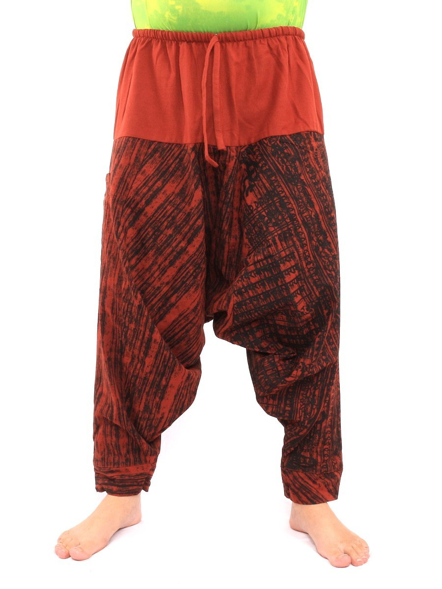 Drawcord Aladdin Harem Baggy Pants Om Sanskrit Print One Size Orange