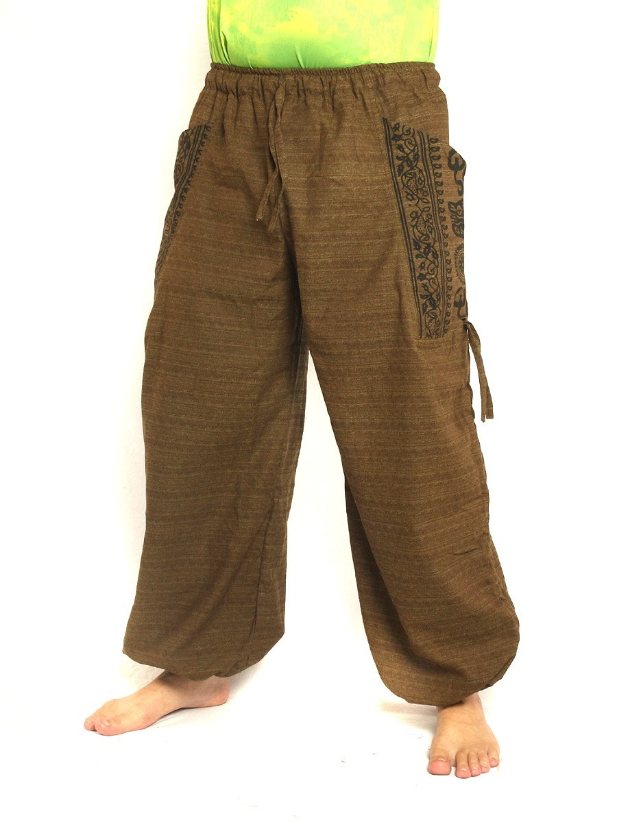 High Cut Harem Pants Boho Hippie Ethnic Floral Pattern Print Cotton Mix With Large Side Pockets Brown