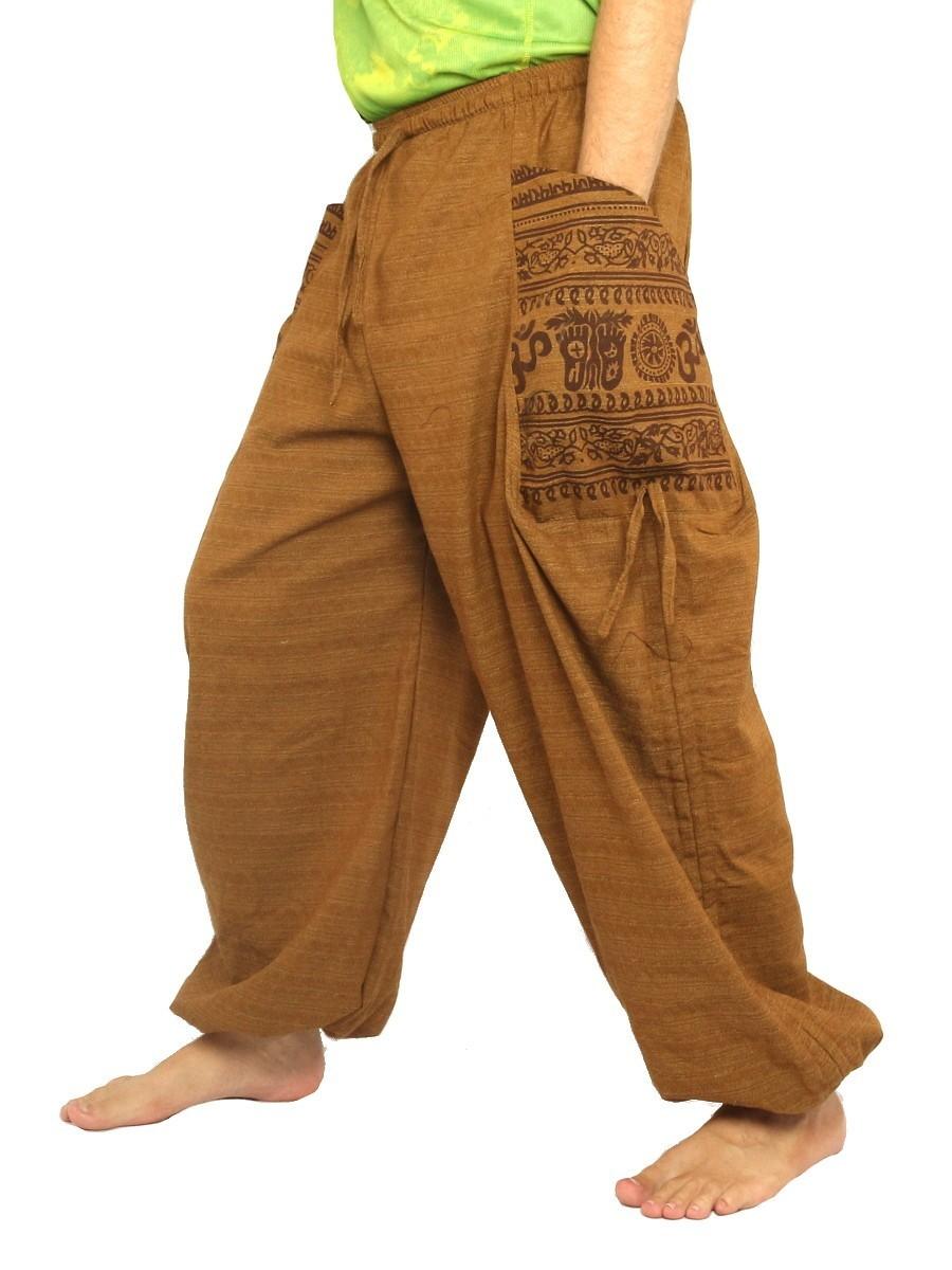 Harem Pants High Cut Boho Hippie Cultural Pattern Print Cotton Mix Beige