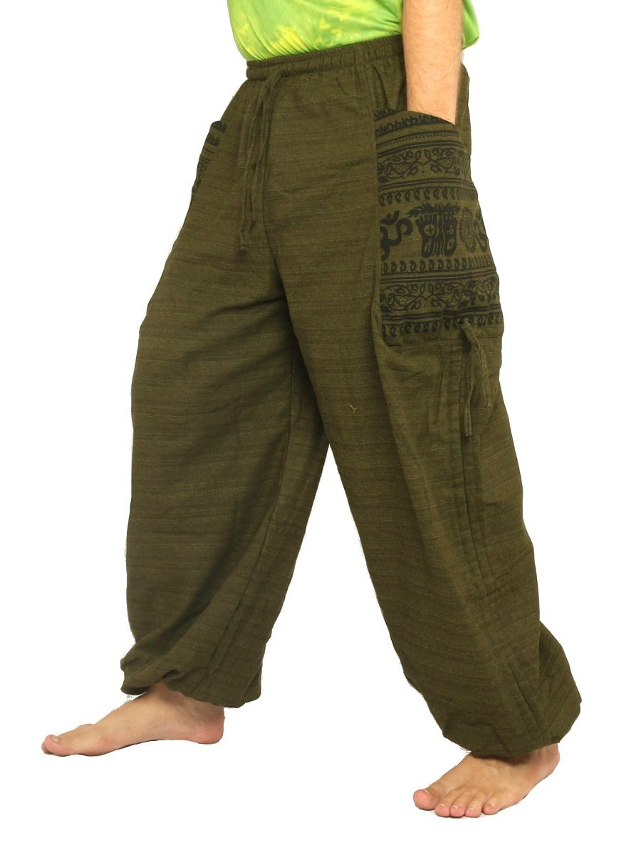 Harem Pants High Cut Boho Hippie Cultural Pattern Print Cotton Mix Olive Green