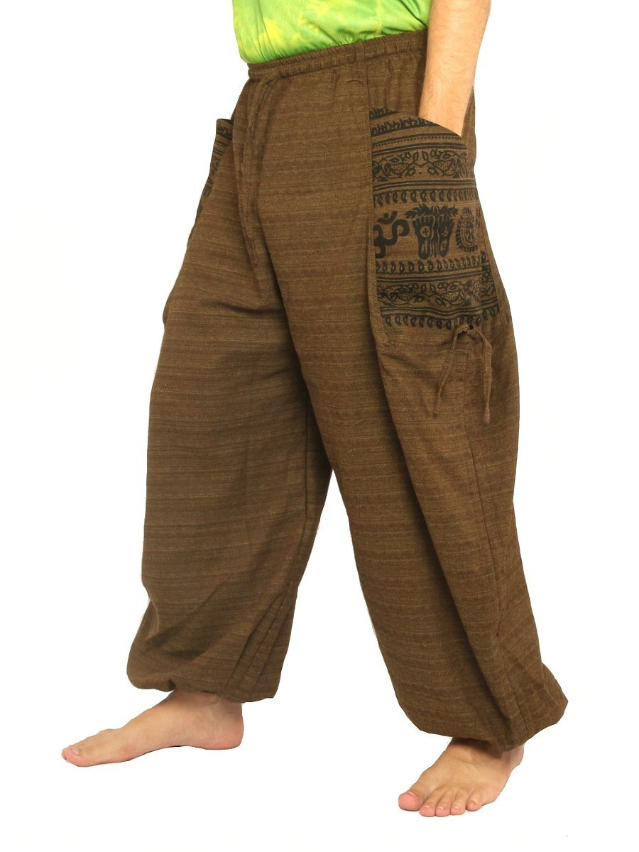 Harem Pants High Cut Boho Hippie Cultural Pattern Print Cotton Mix Brown