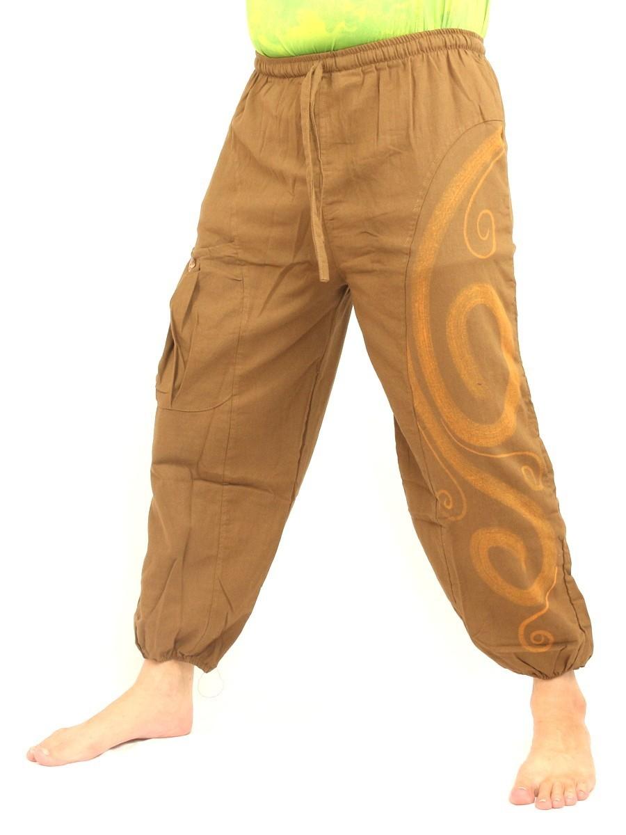Harem Pants Boho Hippie Chic Spiral Swirl Print Cotton Beige