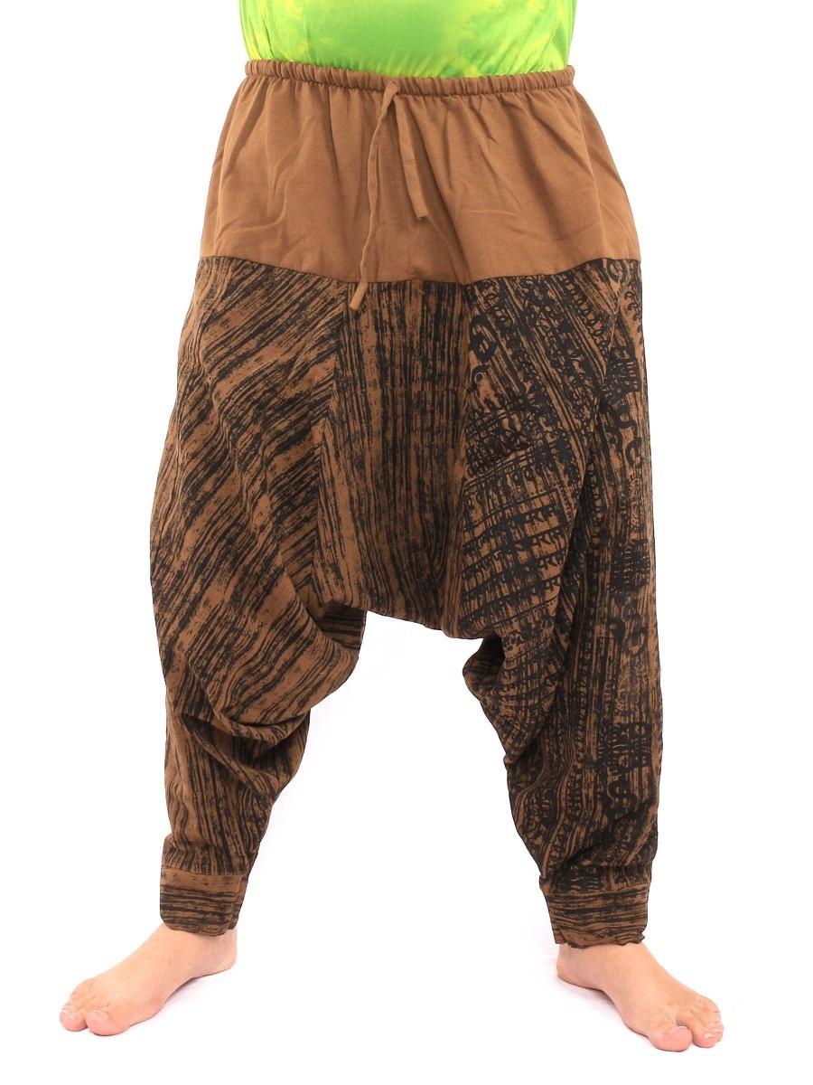 Drawcord Aladdin Harem Baggy Pants Om Sanskrit Print One Size Brown