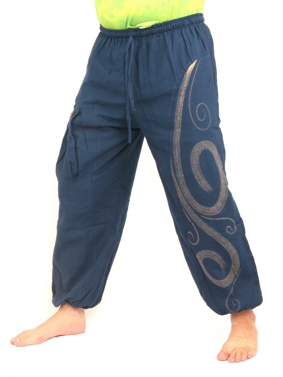 Harem Pants Boho Hippie Chic Spiral Swirl Print Cotton Blue