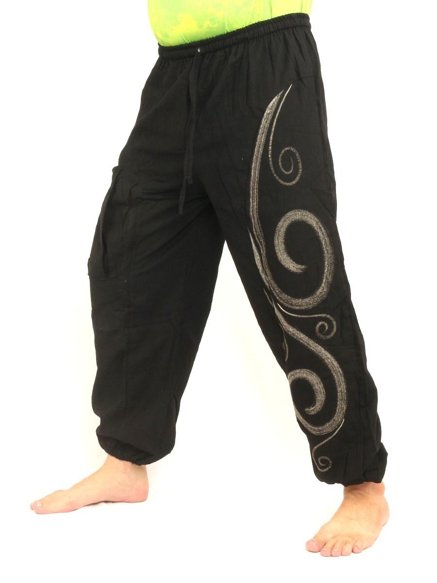 Harem Pants Boho Hippie Chic Spiral Swirl Print Cotton Black