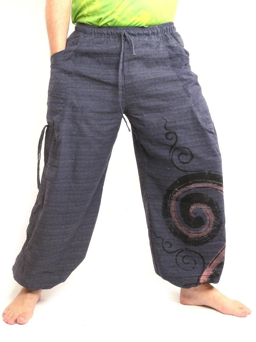 Harem Pants Boho Hippie Chic Cotton One Size Blue Unisex
