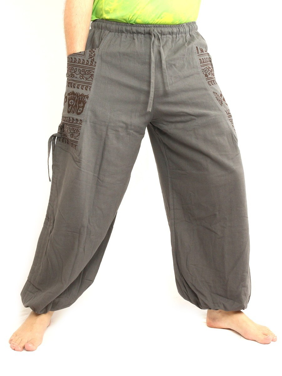 High Cut Harem Pants With 2 Large Side Pockets And Ethnic Prints One Size Gray