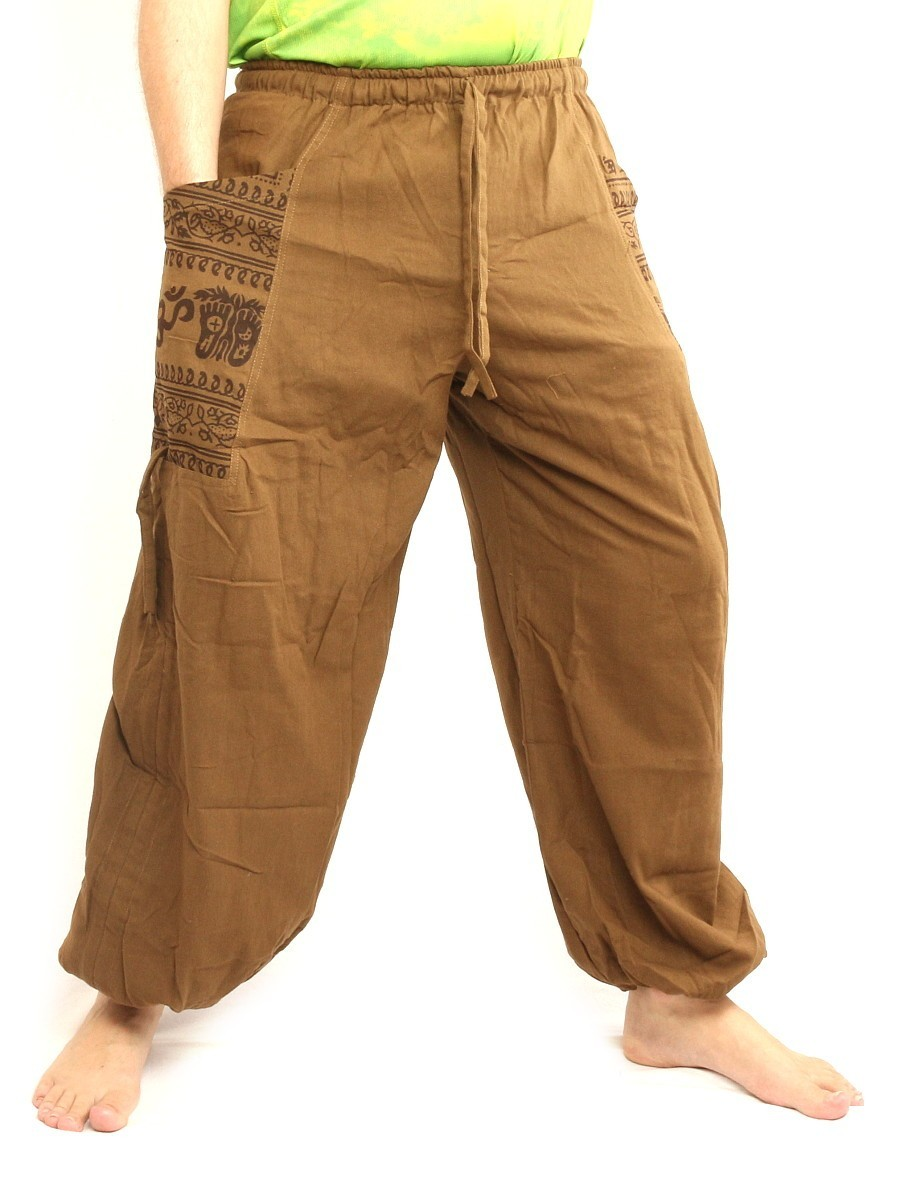 High Cut Harem Pants With 2 Large Side Pockets And Ethnic Prints One Size Beige