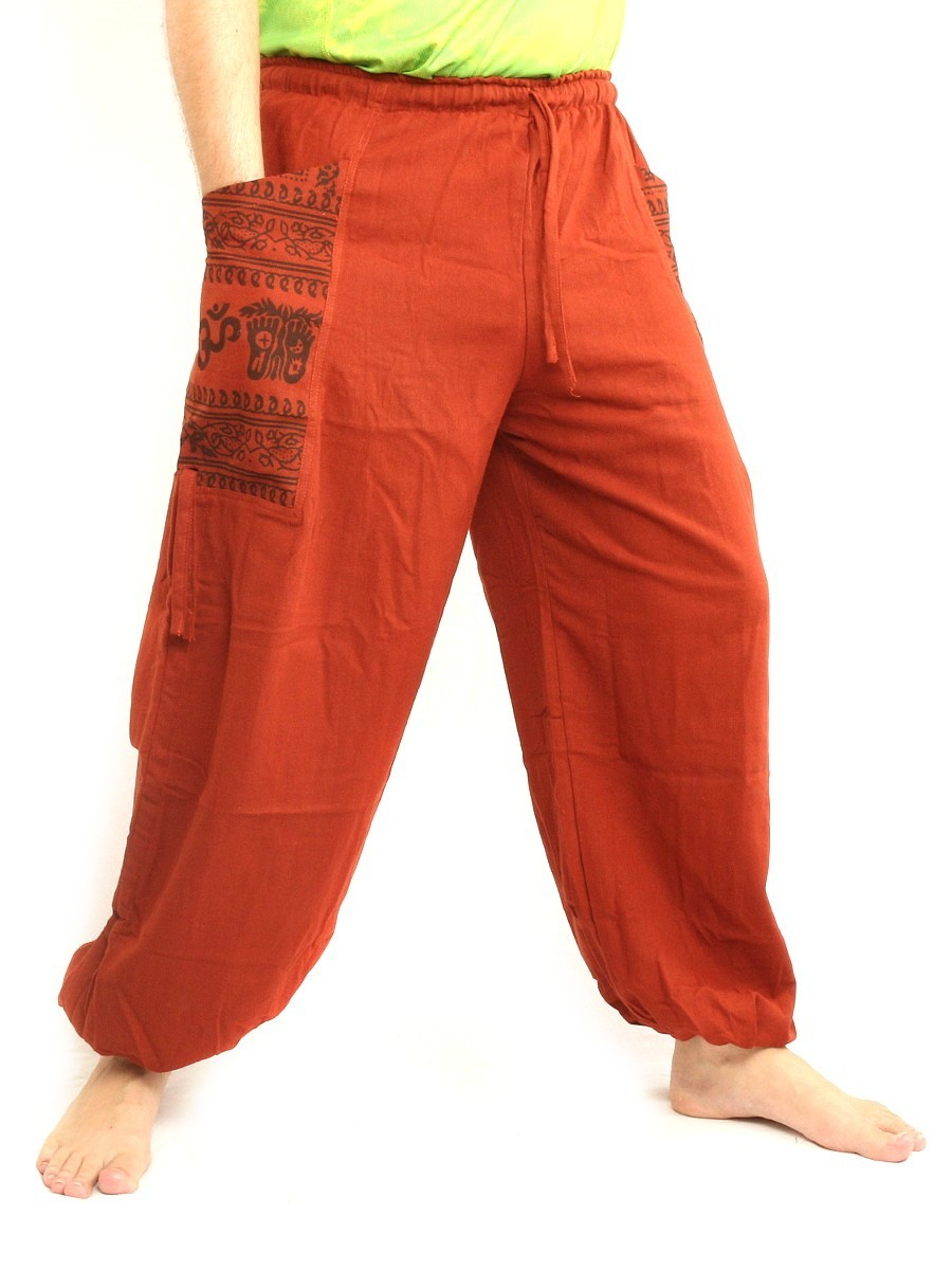 High Cut Harem Pants With 2 Large Side Pockets And Ethnic Prints One Size Orange