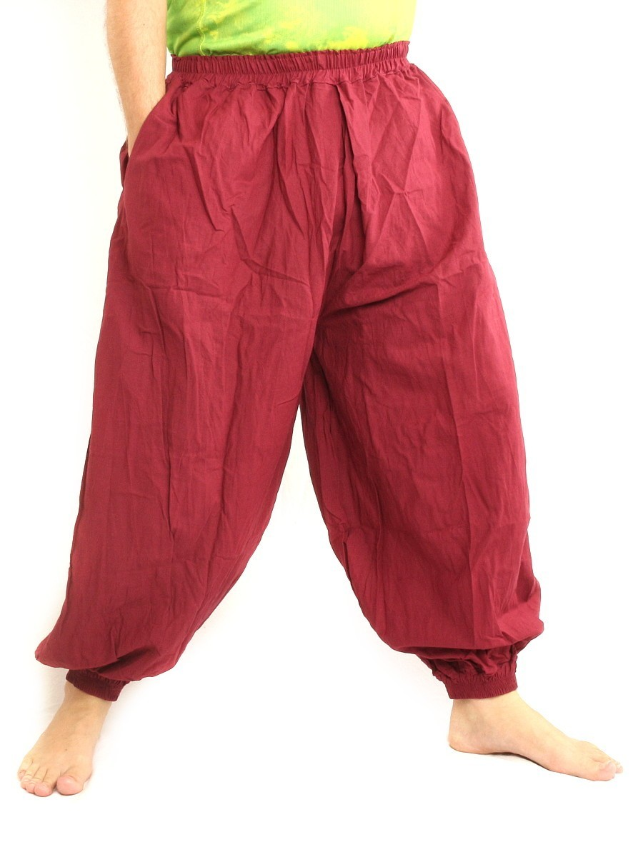 High Cut Balloon Harem Pants One Size Cotton Unisex For Men and Women Red