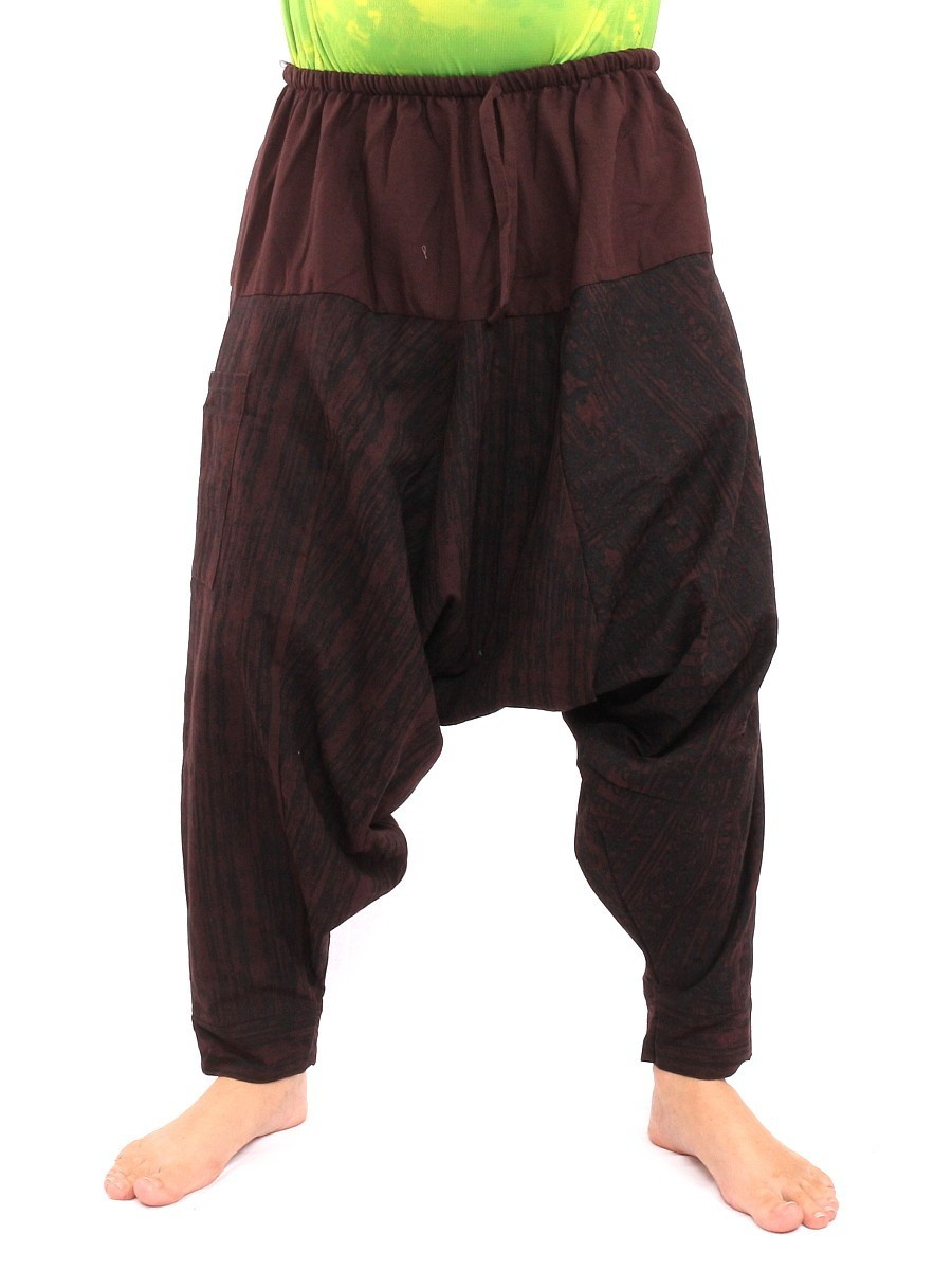 Drawcord Aladdin Harem Baggy Pants Om Sanskrit Print One Size Brown