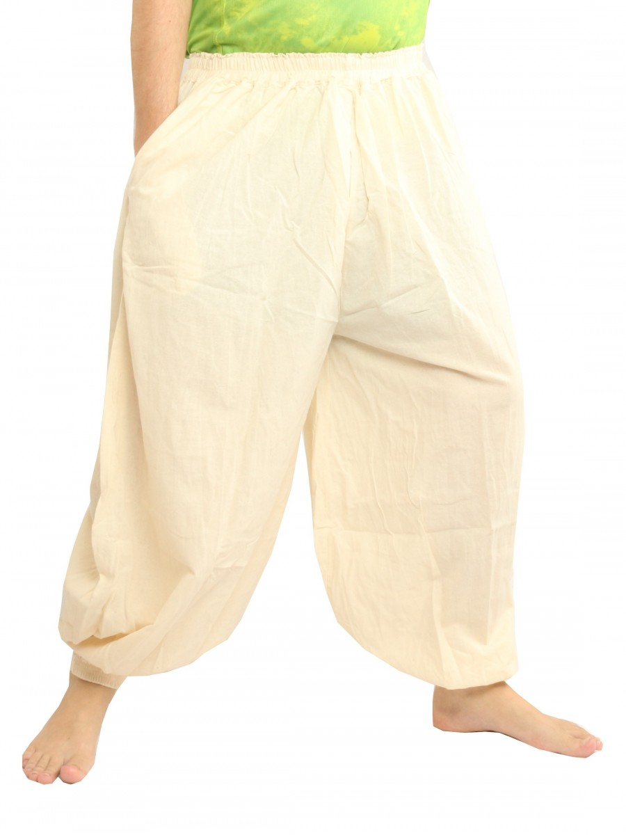 High Cut Balloon Harem Pants One Size Cotton Unisex For Men and Women Undyed