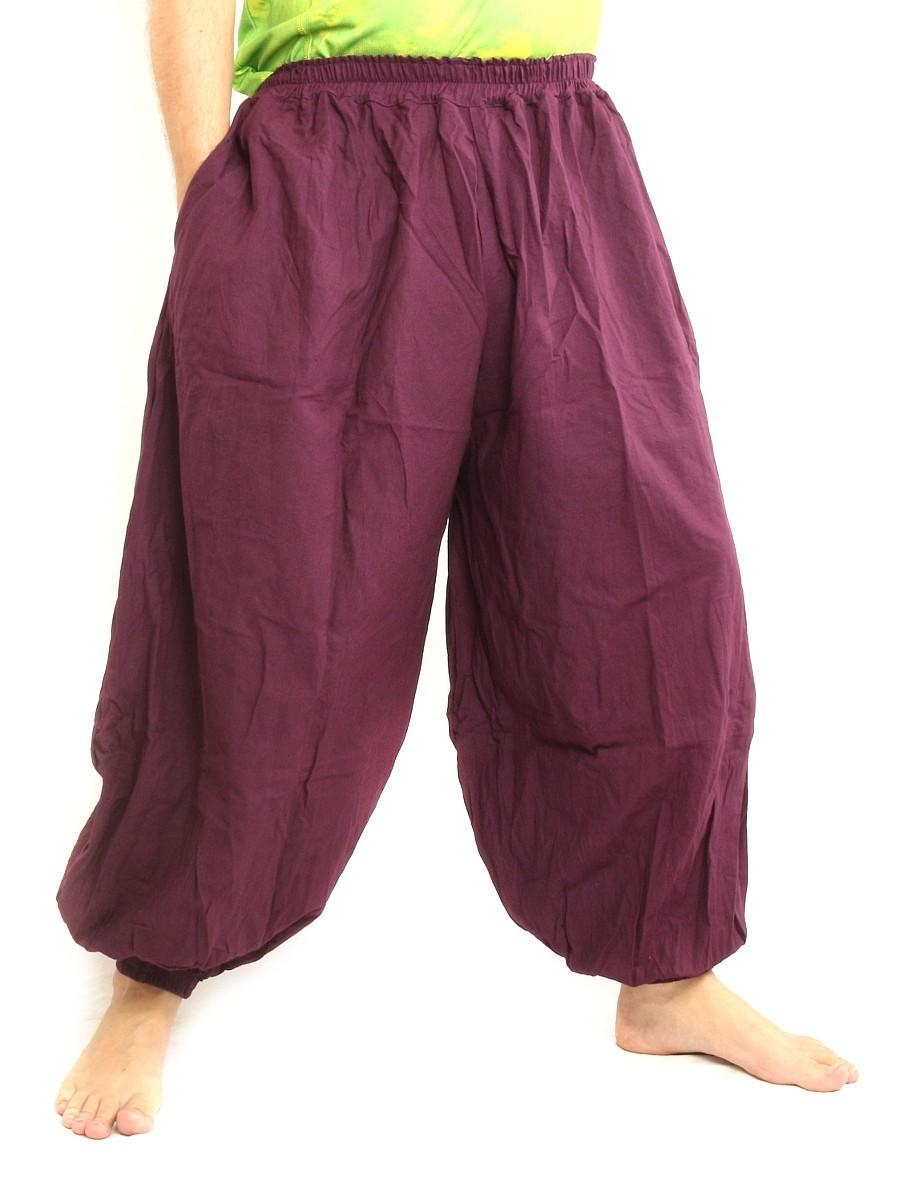 High Cut Balloon Harem Pants One Size Cotton Unisex For Men and Women Bordeaux