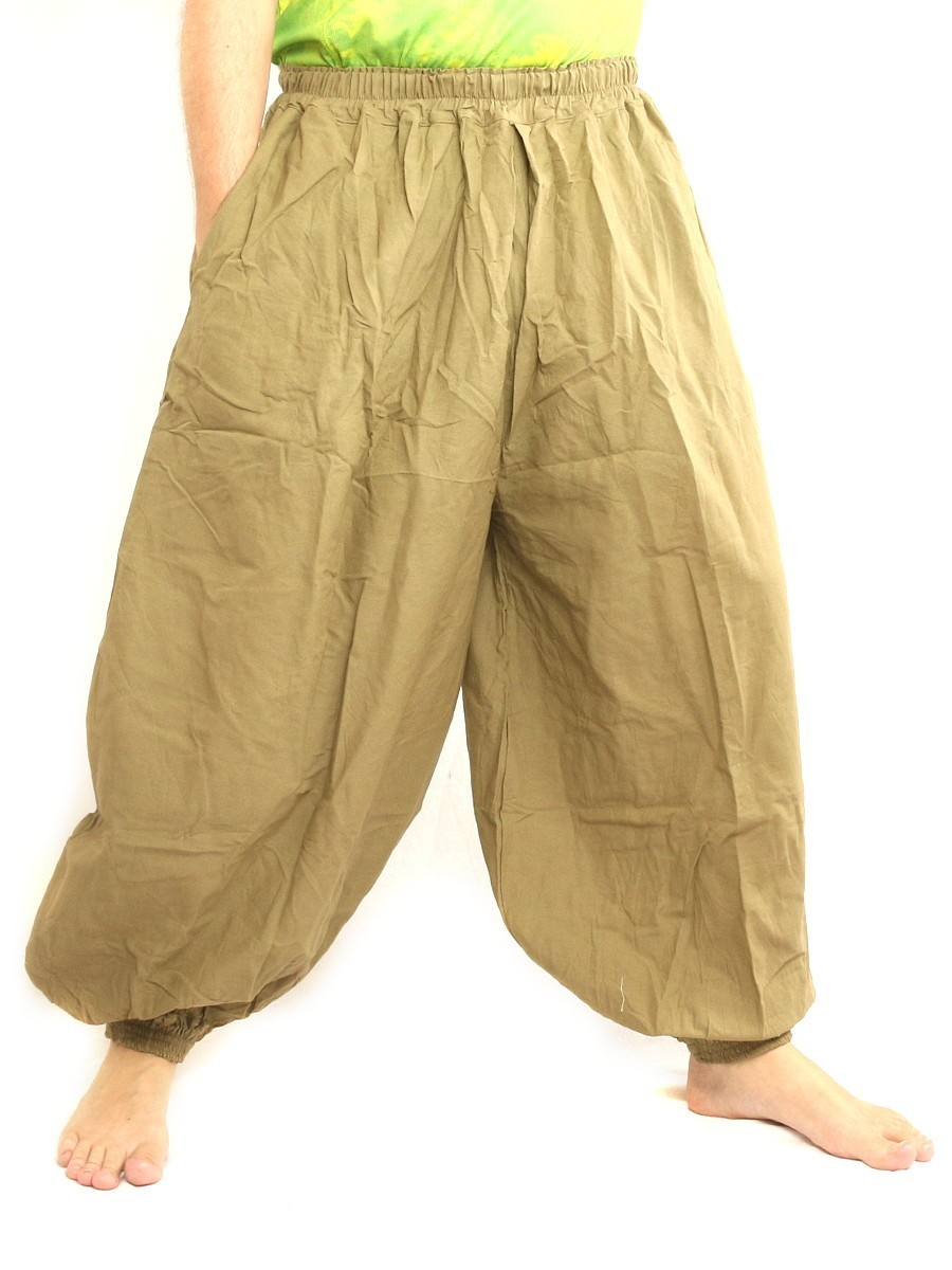 High Cut Balloon Harem Pants One Size Cotton Unisex For Men and Women Khaki
