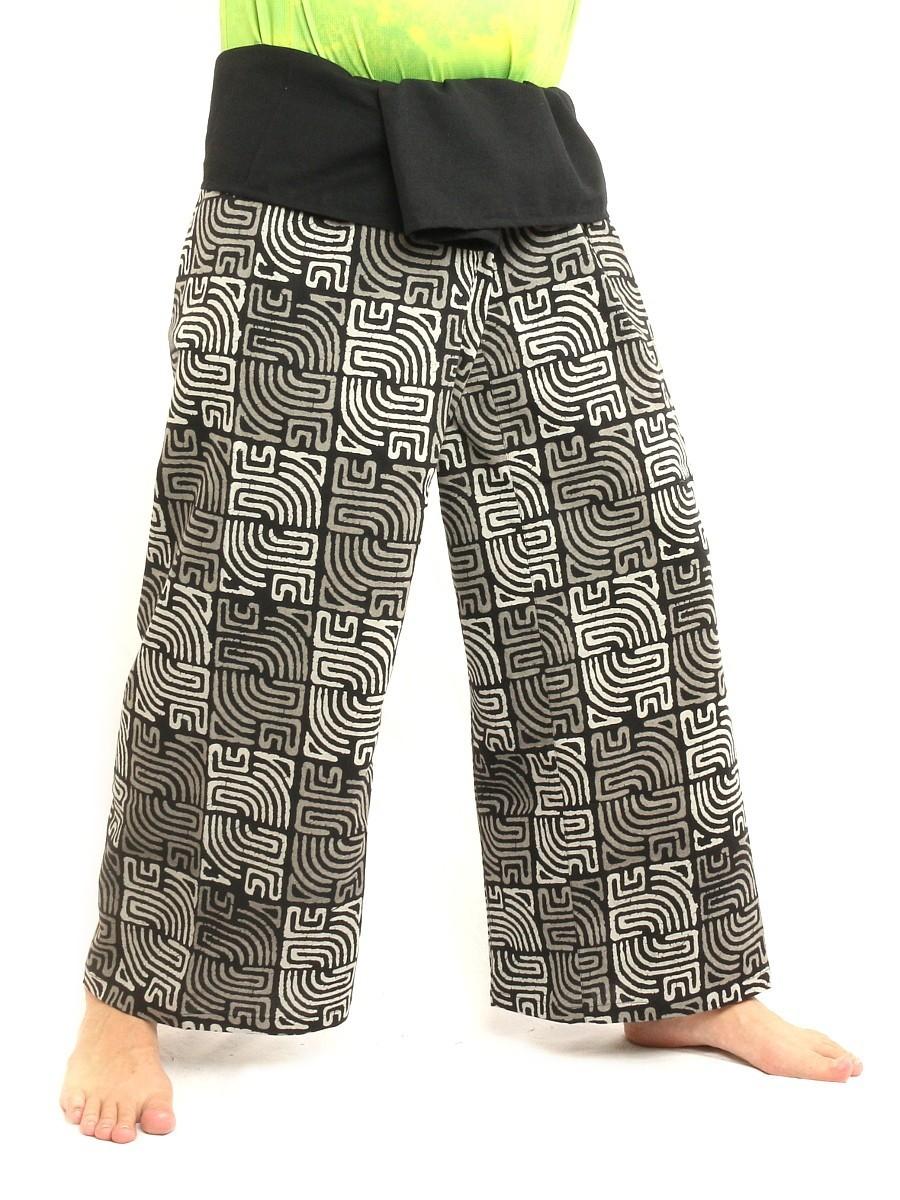 Thai Fisherman Self Tie Wrap Pants Cultural Print Study Cotton Size L