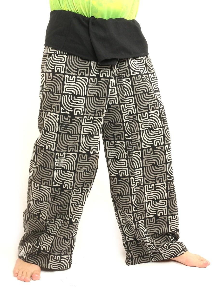 Thai Fisherman Self Tie Wrap Pants Cultural Print Study Cotton Size XL