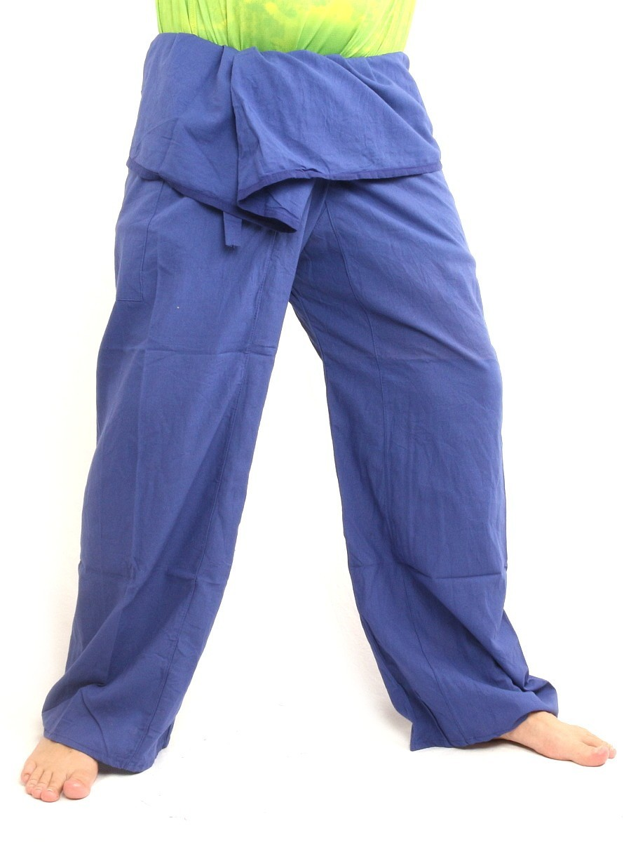Thai Fisherman Pants Cotton Solid Color With One Side Pocket X-Long Blue