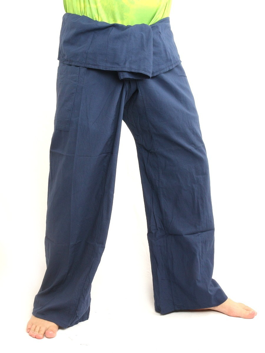 Thai Fisherman Pants Cotton Solid Color With One Side Pocket X-Long Cornflower Blue