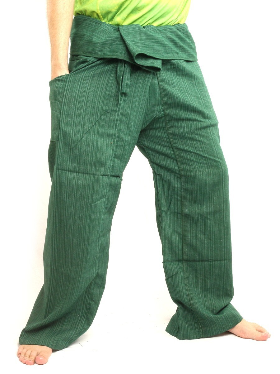 Thai Fisherman Pants Solid Color Cotton Mix One Size X-Long Green