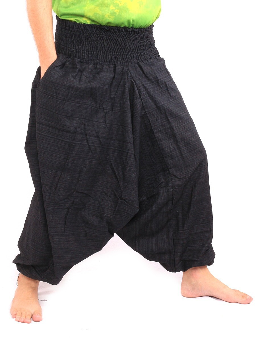 Aladdin Harem Pants Low Crotch One Size Cotton Mix Black