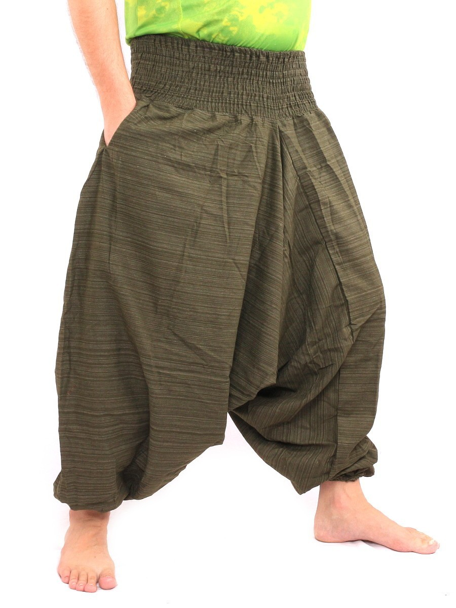 Aladdin Harem Pants Low Crotch One Size Cotton Mix Green
