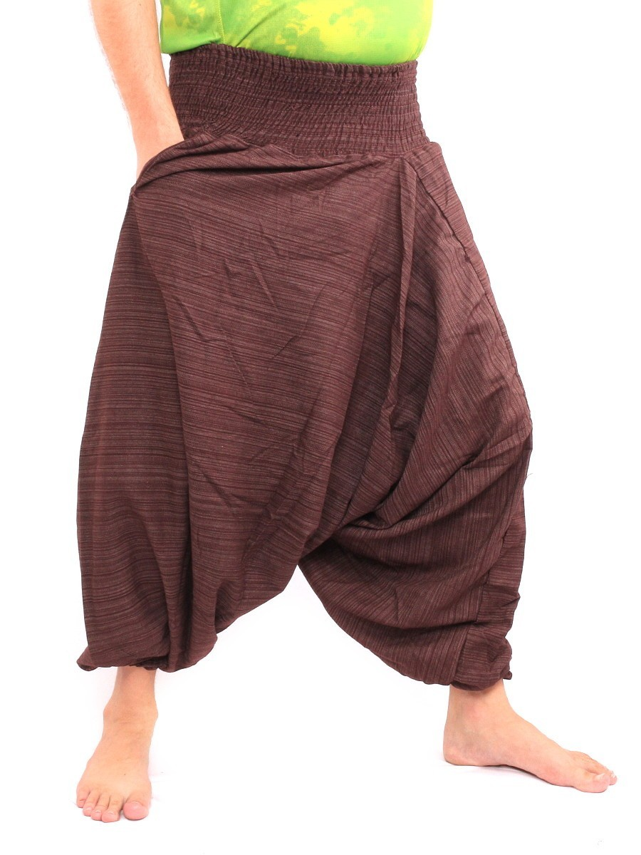 Aladdin Harem Pants Low Crotch One Size Cotton Mix Brown