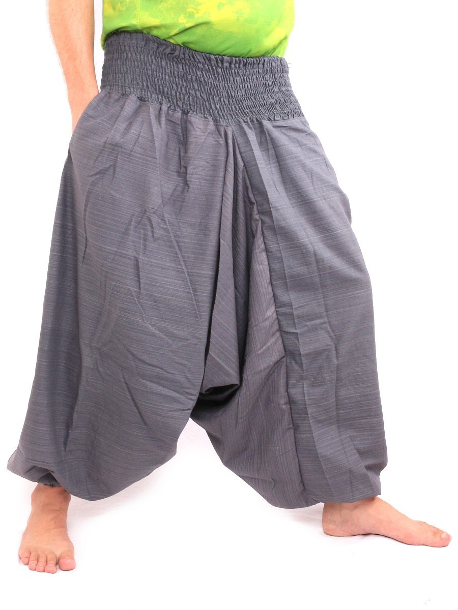 Aladdin Harem Pants Low Crotch One Size Cotton Mix Grey