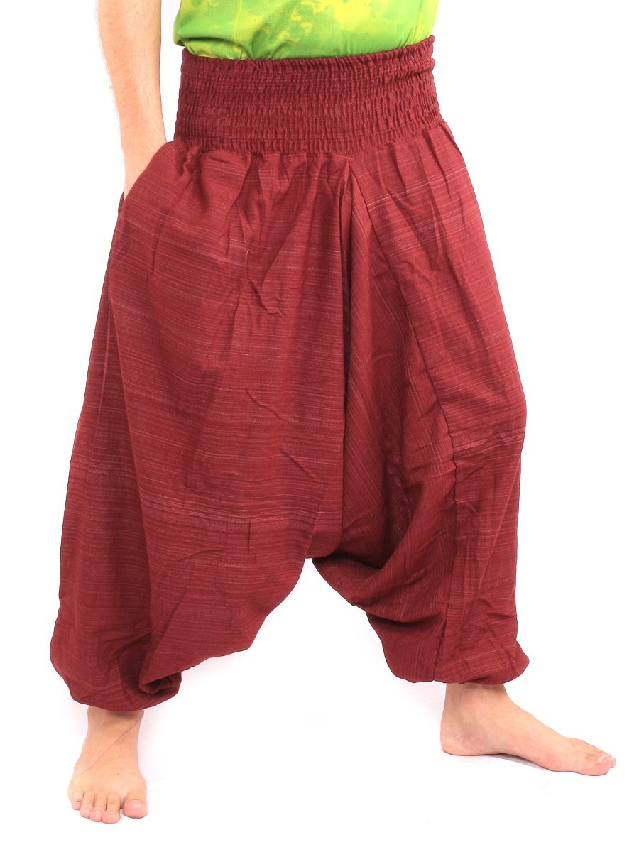 Aladdin Harem Pants Low Crotch One Size Cotton Mix Red